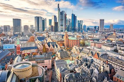 Skyline of Frankfurt am Main Germany on a sunny day.