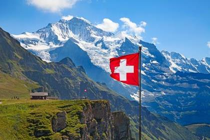Swiss flag on the top of Mannlichen (Jungfrau region, Bern, Switzerland)